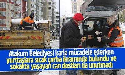 Atakum Belediyesi kar mücadelesini sürdürüyor