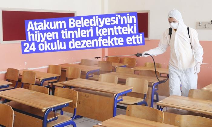 Atakum Belediyesi'nin hijyen timlerinden öğrenciler için 24 okulda dezenfeksiyon