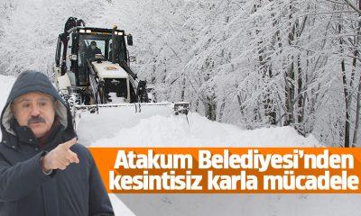 Atakum Belediyesi ekipleri kar yağışı ile mücadele ediyor