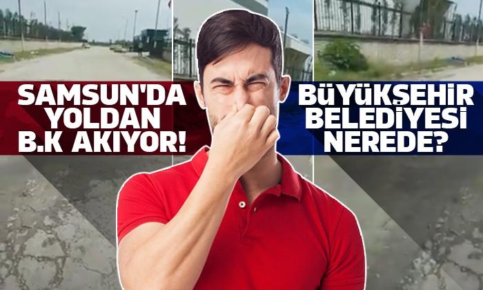 Samsun'da günlerdir yoldan akan lağıma vatandaşlar isyan ettiler