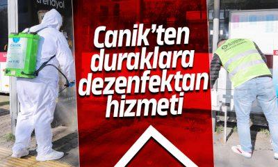 Canik'ten duraklara dezenfektan hizmeti