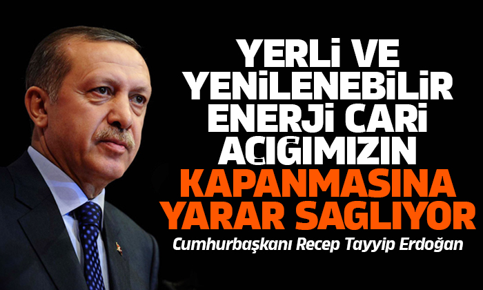 Erdoğan: Yerli ve yenilenebilir enerjideki her bir puanlık artış cari açığımızın kapanmasına yarar sağlıyor