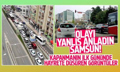 Tam kapanmanın ilk gününde Samsun'da trafik kilitlendi!