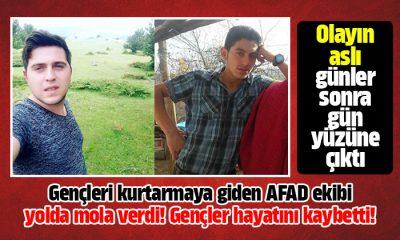 Samsun'da AFAD ekibi can kurtarmaya giderken yolda mola vermişler!