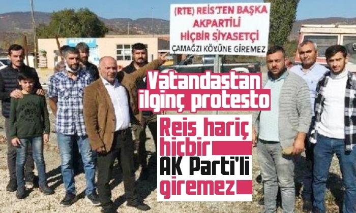 İlginç protesto: Reis hariç hiçbir AK Parti'li giremez