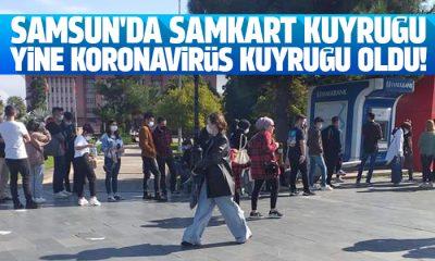 Samsun'da Samkart kuyruğu yine Koronavirüs kuyruğuna döndü!