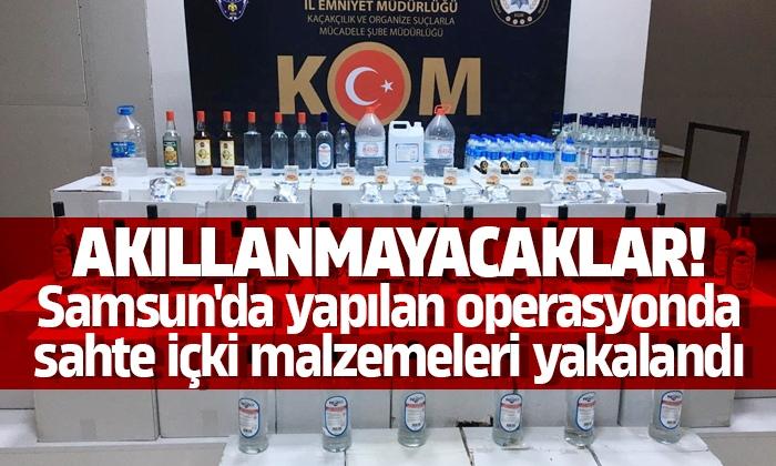 Samsun'da yapılan operasyonda sahte içki malzemeleri yakalandı