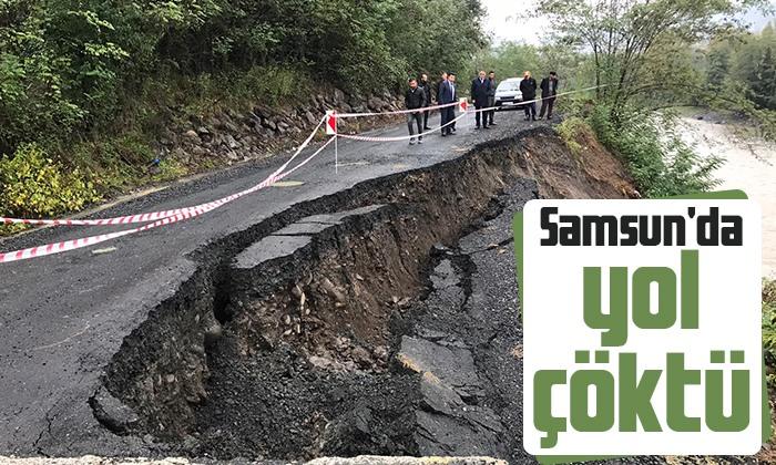 Salıpazarı'nda yağışlar nedeni ile yol çöktü
