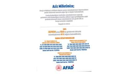 Nakdi yardım yapmak isteyen vatandaşlara AFAD'tan çağrı