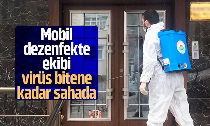İlkadım Mobil dezenfekte ekibi virüsle mücadele ediyor