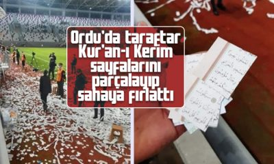 Ordu'da taraftar Kur'a-ı Kerim'i konfeti yaptı