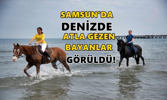 Samsun'da Denizde Atla Gezen Bayanlar Görüldü