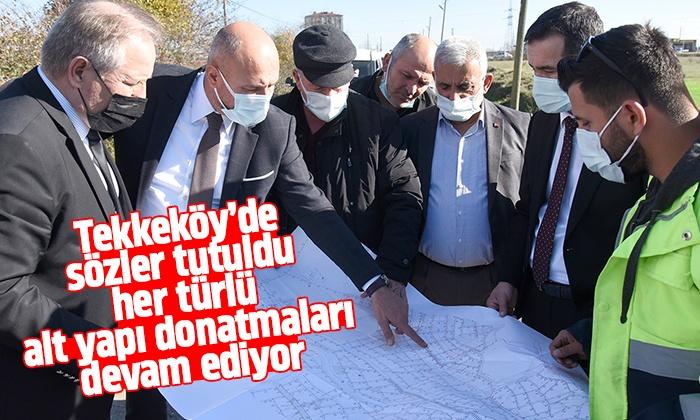 Tekkeköy'de yol çalışmaları aralıksız devam ediyor